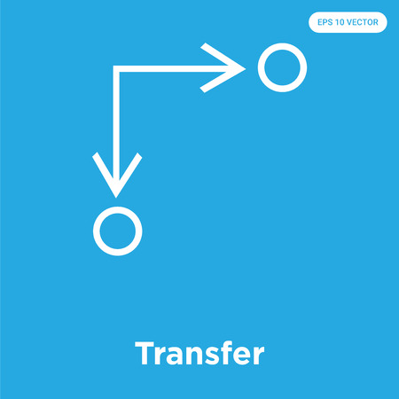 Transfer vector icon isolated on blue background, sign and symbol, Transfer icons collection