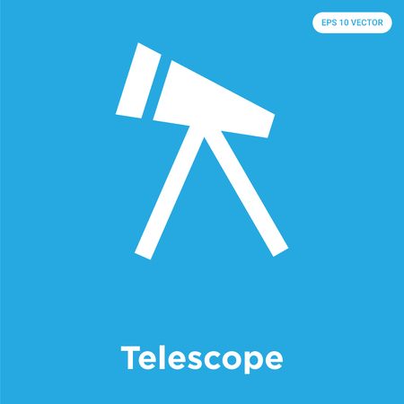 Telescope vector icon isolated on blue background, sign and symbol, Telescope icons collection Ilustrace