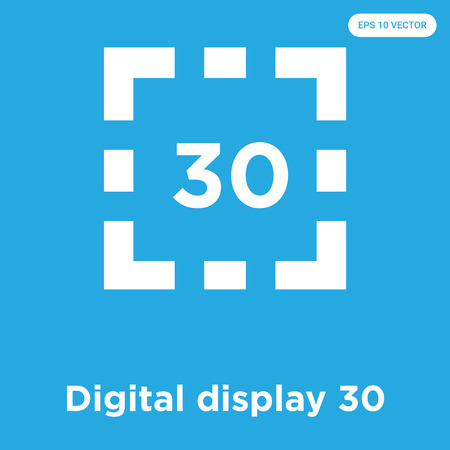 Digital display 30 vector icon isolated on blue background, sign and symbol, Digital display 30 icons collection Ilustrace