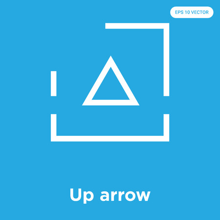 Up arrow vector icon isolated on blue background, sign and symbol, Up arrow icons collection Ilustrace