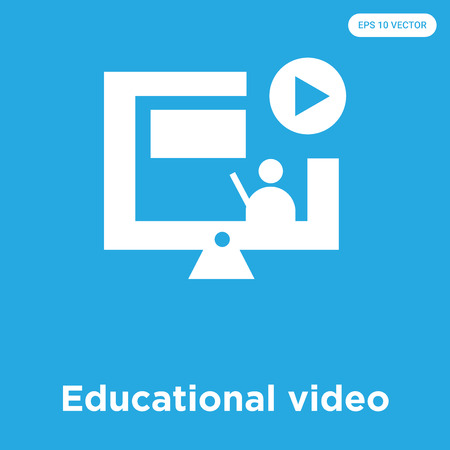 Educational video vector icon isolated on blue background, sign and symbol, Educational video icons collection