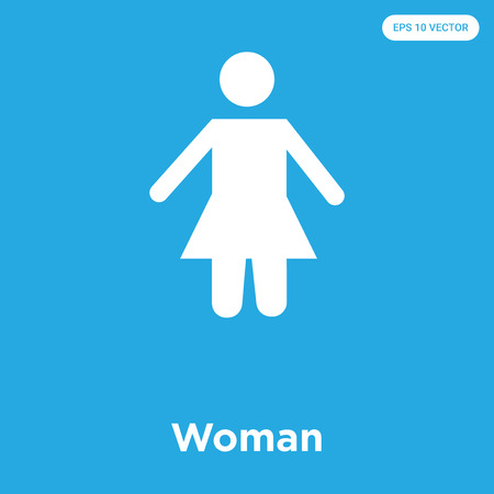 Woman vector icon isolated on blue background, sign and symbol, Woman icons collection Ilustrace