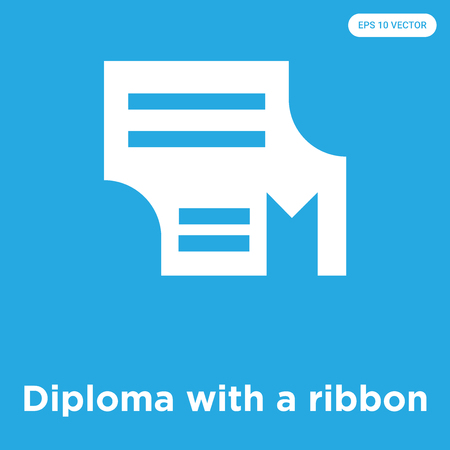Diploma with a ribbon vector icon isolated on blue background, sign and symbol, Diploma with a ribbon icons collection Foto de archivo - 114806091