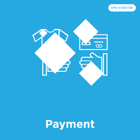 Payment vector icon isolated on blue background, sign and symbol, Payment icons collection Illustration