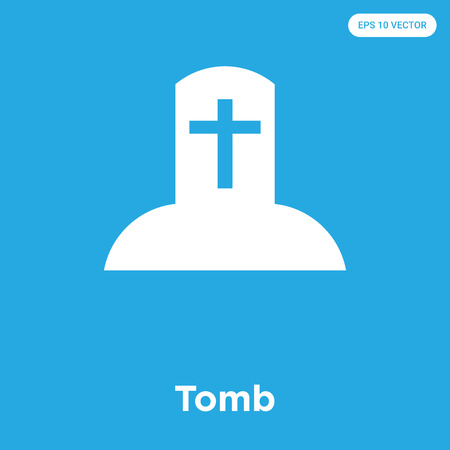 Tomb vector icon isolated on blue background, sign and symbol, Tomb icons collection