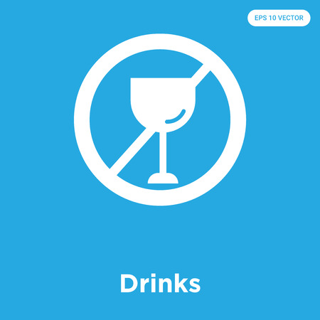 Drinks vector icon isolated on blue background, sign and symbol, Drinks icons collection