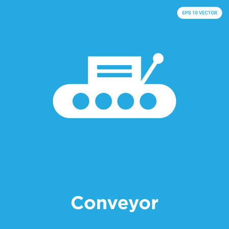 Conveyor vector icon isolated on blue background, sign and symbol, Conveyor icons collection Illustration