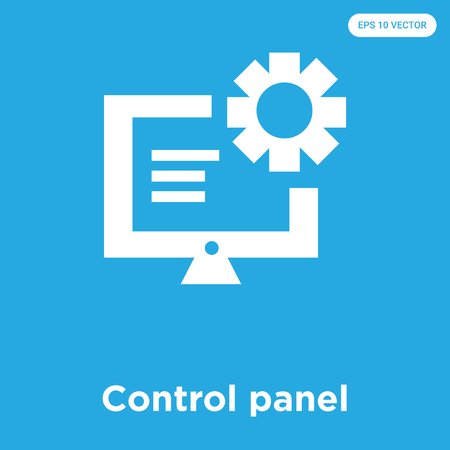 Control panel vector icon isolated on blue background, sign and symbol, Control panel icons collection