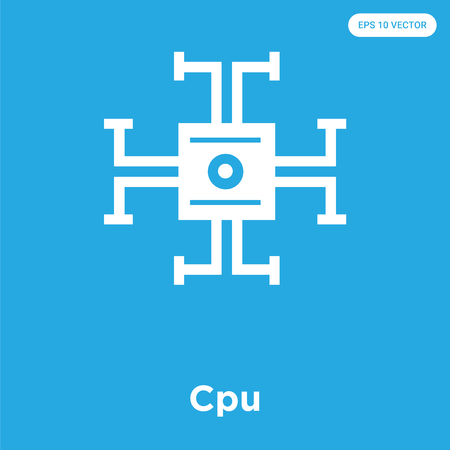 Cpu vector icon isolated on blue background, sign and symbol, Cpu icons collection