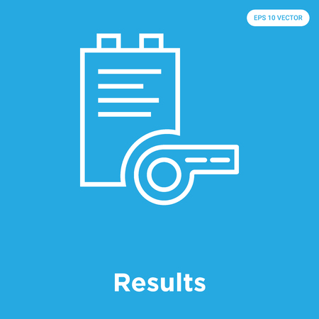 Results vector icon isolated on blue background, sign and symbol, Results icons collection