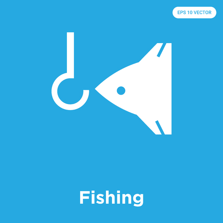 Fishing vector icon isolated on blue background, sign and symbol, Fishing icons collection Ilustração