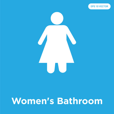 Women's Bathroom vector icon isolated on blue background, sign and symbol, Women's Bathroom icons collection 矢量图像