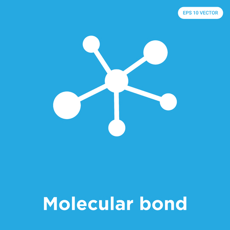 Molecular bond vector icon isolated on blue background, sign and symbol, Molecular bond icons collection 矢量图像