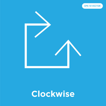 Clockwise vector icon isolated on blue background, sign and symbol, Clockwise icons collection