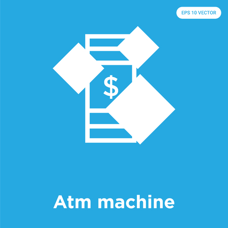 Atm machine vector icon isolated on blue background, sign and symbol, Atm machine icons collection
