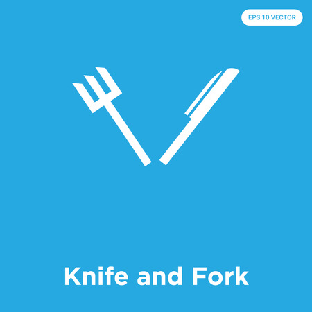 Knife and Fork vector icon isolated on blue background, sign and symbol, Knife and Fork icons collection