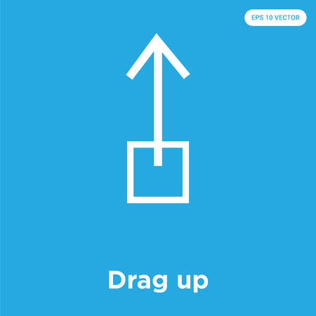 Drag up vector icon isolated on blue background, sign and symbol, Drag up icons collection