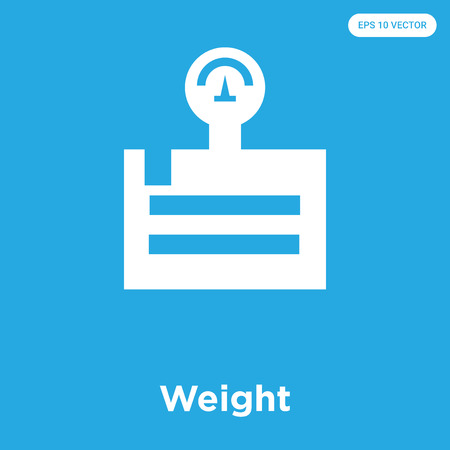 Weight vector icon isolated on blue background, sign and symbol, Weight icons collection