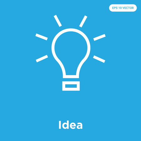 Idea vector icon isolated on blue background, sign and symbol, Idea icons collection