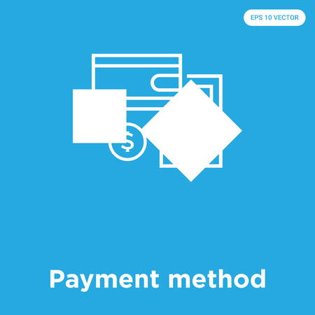 Payment method vector icon isolated on blue background, sign and symbol, Payment method icons collection Stock Illustratie
