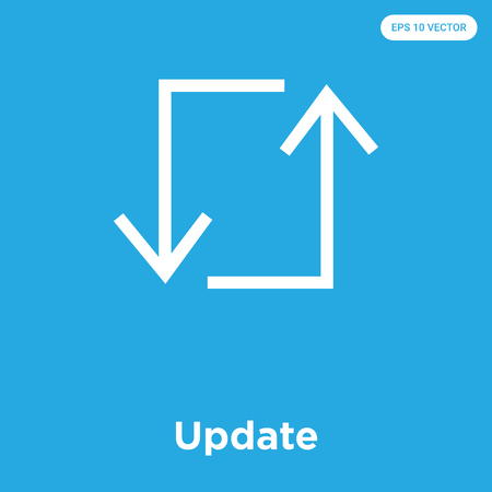 Update vector icon isolated on blue background, sign and symbol, Update icons collection