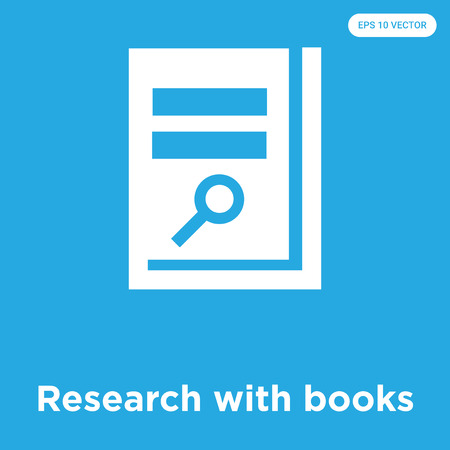 Research with books vector icon isolated on blue background, sign and symbol, Research with books icons collection Stock Illustratie