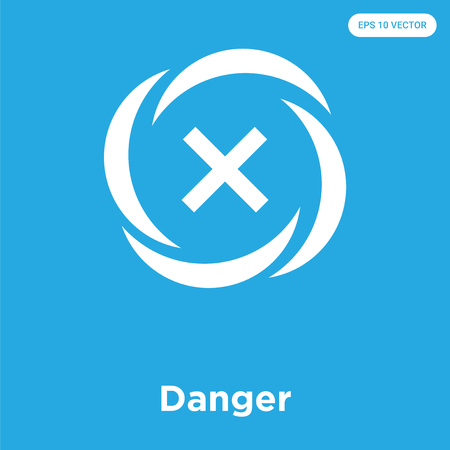 Danger vector icon isolated on blue background, sign and symbol, Danger icons collection Imagens - 105153432