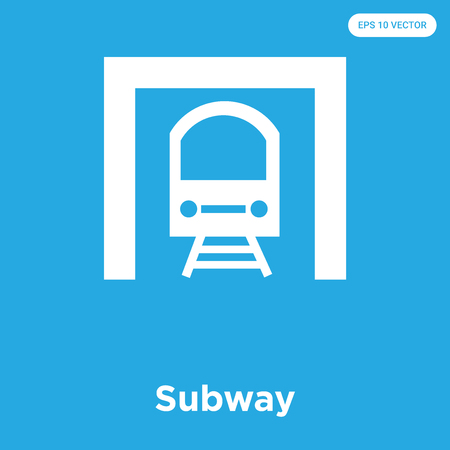 Subway vector icon isolated on blue background, sign and symbol, Subway icons collection