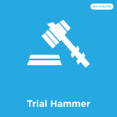 Trial Hammer vector icon isolated on blue background, sign and symbol, Trial Hammer icons collection