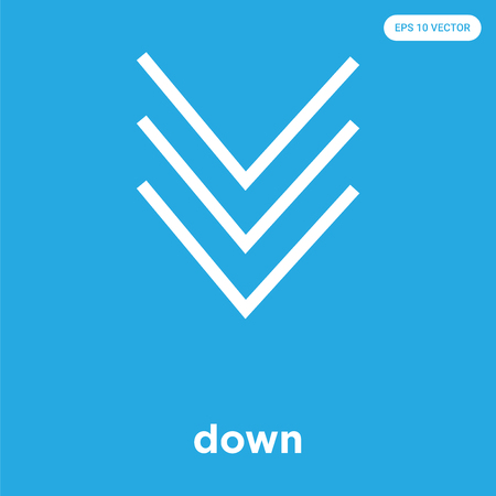 down vector icon isolated on blue background, sign and symbol, down icons collection Imagens - 114806121