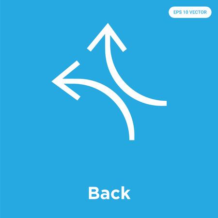Back vector icon isolated on blue background, sign and symbol, Back icons collection 스톡 콘텐츠 - 114806122