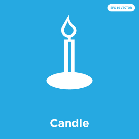 Candle vector icon isolated on blue background, sign and symbol, Candle icons collection