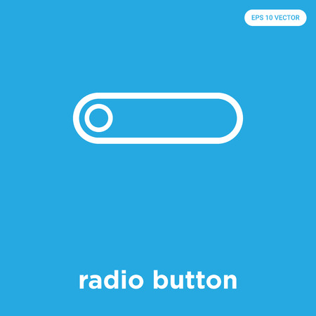 radio button vector icon isolated on blue background, sign and symbol, radio button icons collection Foto de archivo - 114806124