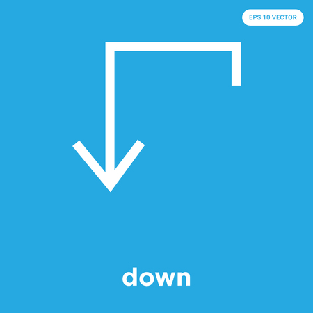 down vector icon isolated on blue background, sign and symbol, down icons collection