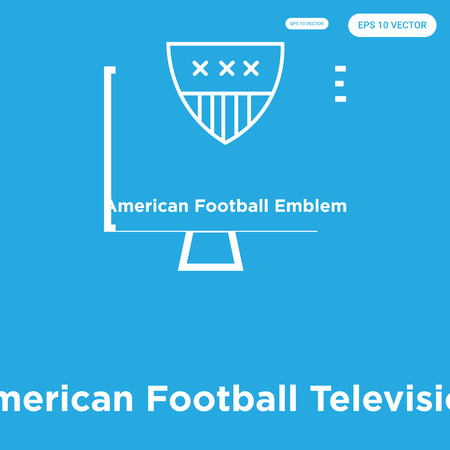 American Football Television vector icon isolated on blue background, sign and symbol, American Football Television icons collection