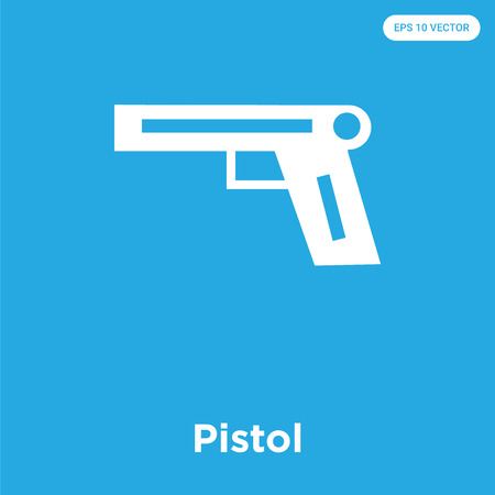 Pistol vector icon isolated on blue background, sign and symbol, Pistol icons collection