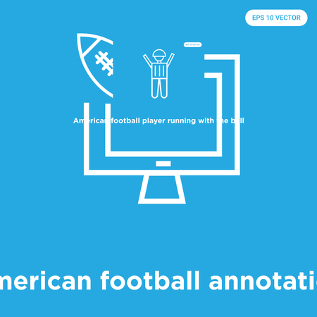 American football annotation vector icon isolated on blue background, sign and symbol, American football annotation icons collection