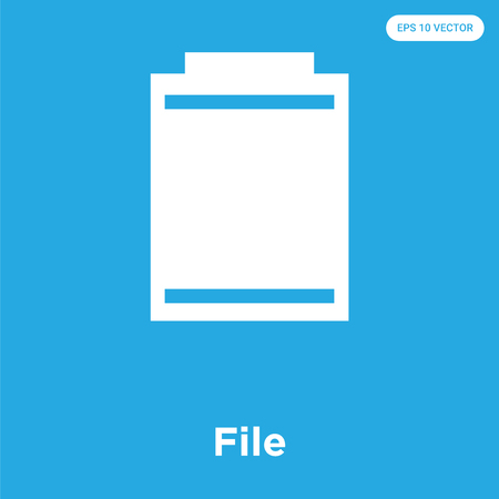 File vector icon isolated on blue background, sign and symbol, File icons collection Illustration