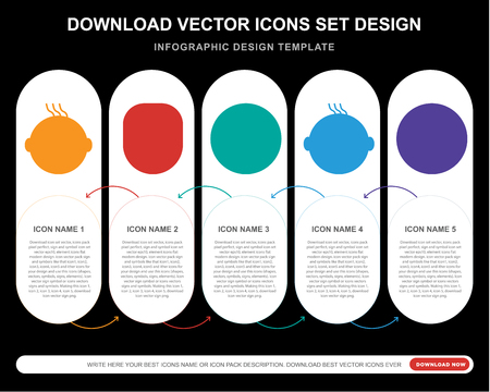5 vector icons such as Crying smile, Thinking Baby Sca smile for infographic, layout, annual report, pixel perfect icon Illustration