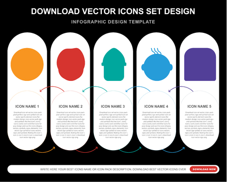 5 vector icons such as Silent smile, Harry potter Burglar Happy Sad smile for infographic, layout, annual report, pixel perfect icon