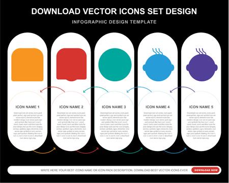 5 Vektorsymbole wie Trauriges Lächeln, Laughing Creepy Happy Clown Lächeln für Infografik, Layout, Jahresbericht, pixelperfektes Symbol