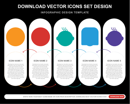 5 vector icons such as Sad smile, Faint Yawning Laughing Smiling smile for infographic, layout, annual report, pixel perfect icon