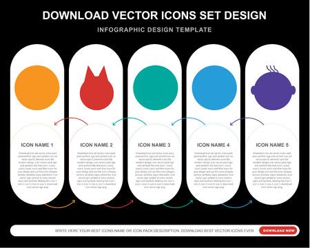 5 iconos vectoriales como sonrisa triste, superhéroe secreto débil sonrisa feliz para infografía, diseño, informe anual, icono perfecto de píxeles