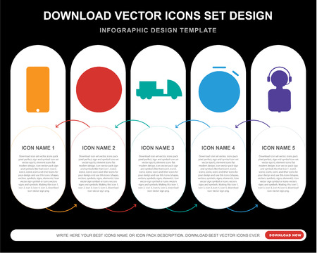 5 vector icons such as Customer service, World map, Truck, Stopwatch, service for infographic, layout, annual report, pixel perfect icon Illustration