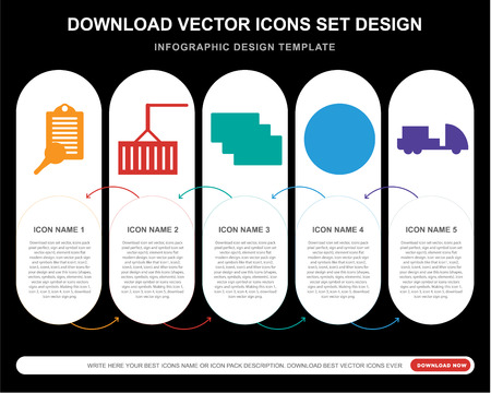 5 vector icons such as Clipboard, Crane, Cit card, World map, Truck for infographic, layout, annual report, pixel perfect icon