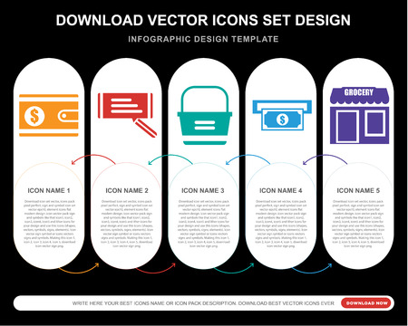 5 vector icons such as Wallet, Check, Basket, Atm, Grocery for infographic, layout, annual report, pixel perfect icon Vectores
