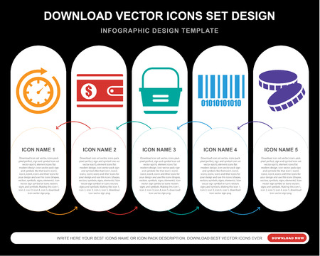 5 vector icons such as Time passing, Wallet, Basket, Barcode, Coin for infographic, layout, annual report, pixel perfect icon