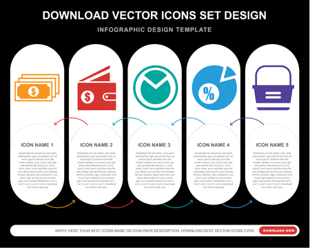 5 vector icons such as Notes, Wallet, Pie chart, Basket for infographic, layout, annual report, pixel perfect icon