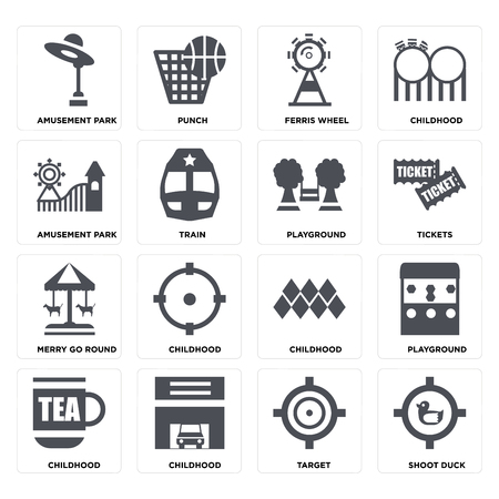 Set Of 16 icons such as Shoot duck, Target, Childhood, Playground, Amusement park, Merry go round on transparent background, pixel perfect Illustration