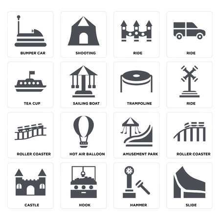Set Of 16 icons such as Slide, Hammer, Hook, Castle, Roller coaster, Bumper car, Tea cup, Trampoline on transparent background, pixel perfect